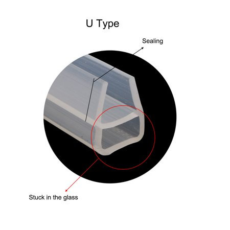 U Type Frameless Shower Door Bottom Seal for 3/8 inch Glass, 9.8 Ft Length - image 5 of 7