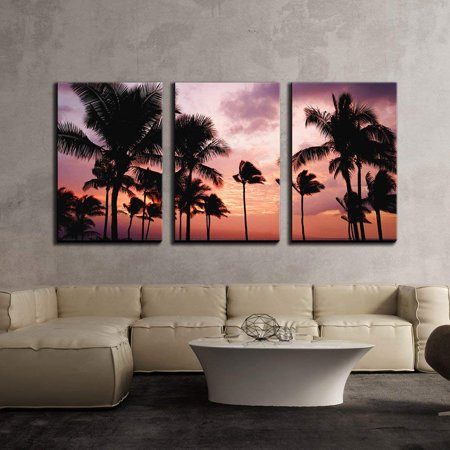 wall26 - 3 Piece Canvas Wall Art - Tropical Landscape with Palm Trees at Sunset - Modern Home Decor Stretched and Framed Ready to Hang - 16