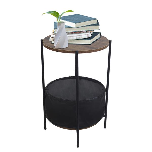 24 Inch Small End Table/Side Table with Fabric Storage Basket