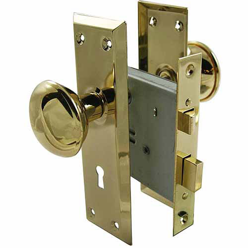 "Ultra 44609 2-1/4"" Brass Old Time Mortise Interior Door Lock Set"