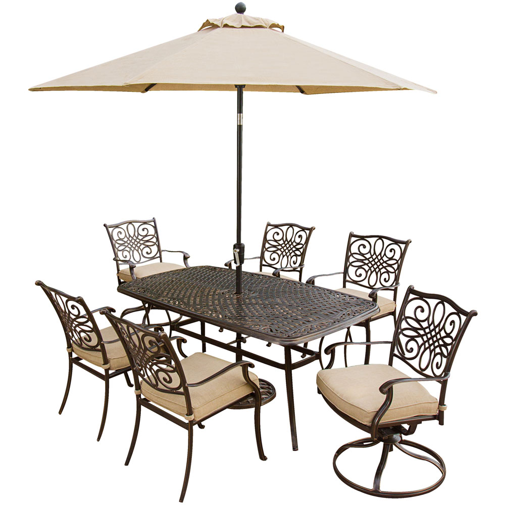 Hanover Outdoor Traditions 7-Piece Dining Set with Two Swivel Rockers and Umbrella, Natural Oat