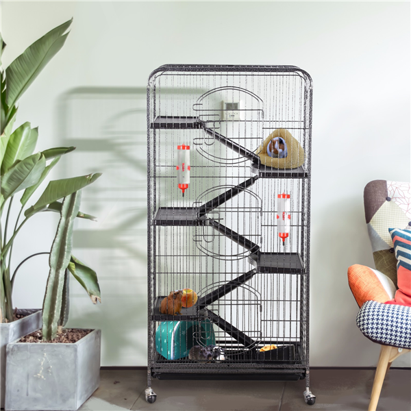 """Topeakmart 52"""" Height 6 Level Ferret Rabbit Small Animal Cage Hutch Indoor with 3 Front Doors & Wheels Black"""