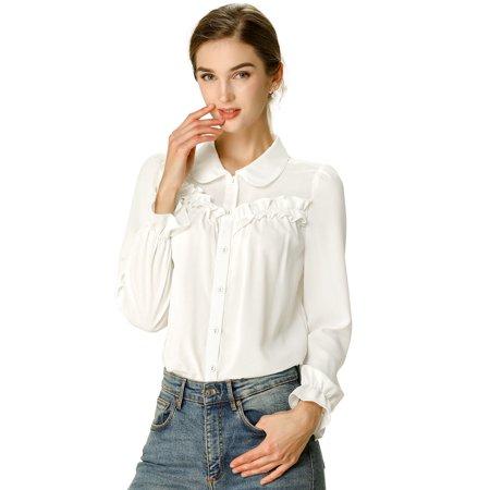 Women's Peter Pan Collar Ruffled Button Down Long Sleeve Shirt L White White Long Sleeve Button