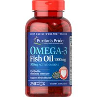 Puritan's Pride Omega-3 Fish Oil 1000 mg (300 mg Active Omega-3) - 250 Softgels