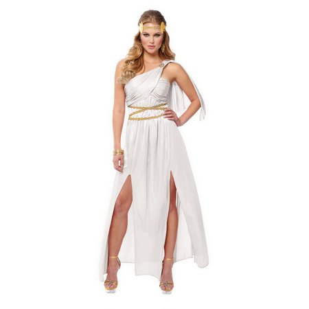 Roman Empress Womens Adult White Greek Goddess Halloween Costume (Roman Goddess Halloween Makeup)