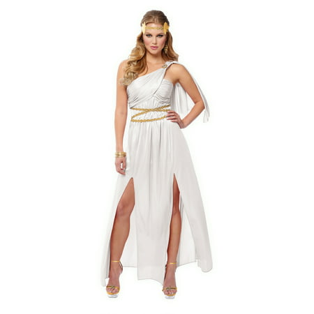 Roman Empress Womens Adult White Greek Goddess Halloween Costume (Adult Greek Goddess Costume)