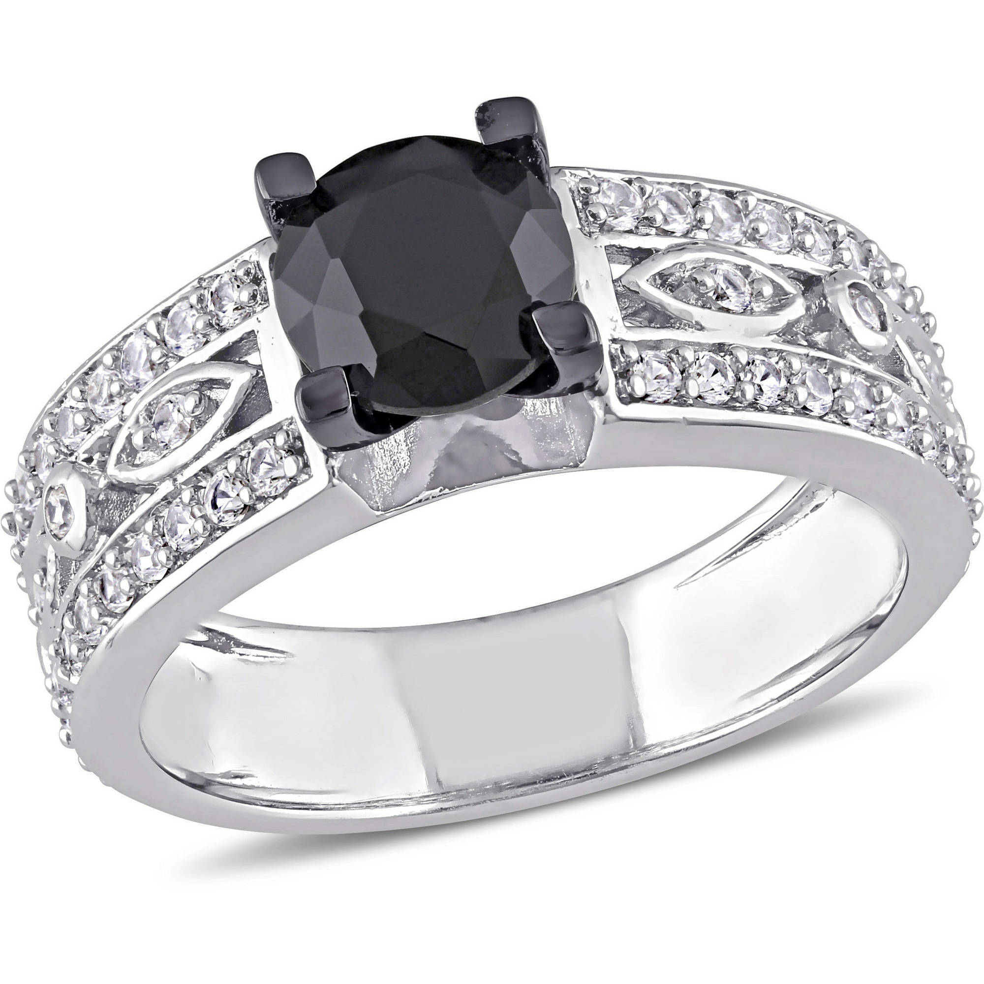 1-3/4 Carat T.G.W. Black Spinel and White Sapphire Engagement Ring in Sterling Silver