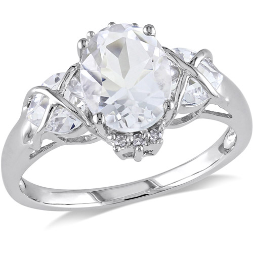 3-1/3 Carat T.G.W. White Topaz and Diamond Accent Ring in 10kt White Gold
