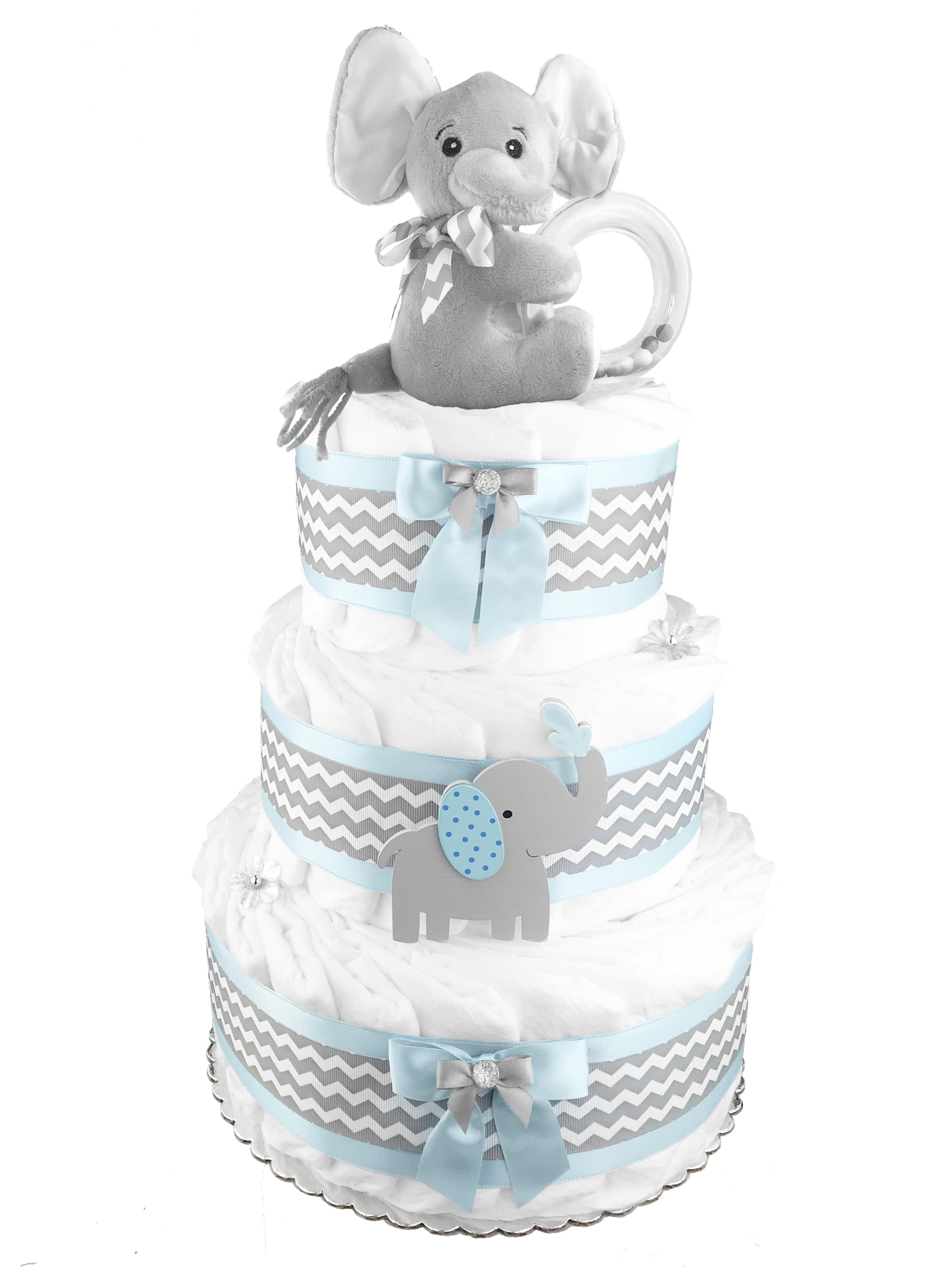 86df79452 Elephant 3-Tier Diaper Cake for a Boy - Baby Shower Centerpiece ...