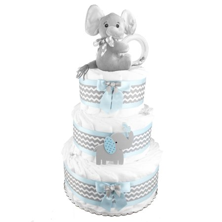 Elephant 3-Tier Diaper Cake for a Boy - Baby Shower Centerpiece - Newborn Gift - Baby Gift - Baby Shower Gift - Blue and Gray