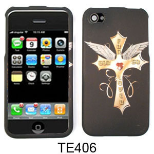 Unlimited Cellular Snap-On Case for Apple iPhone 4/4S (Cross with Wings on Black)