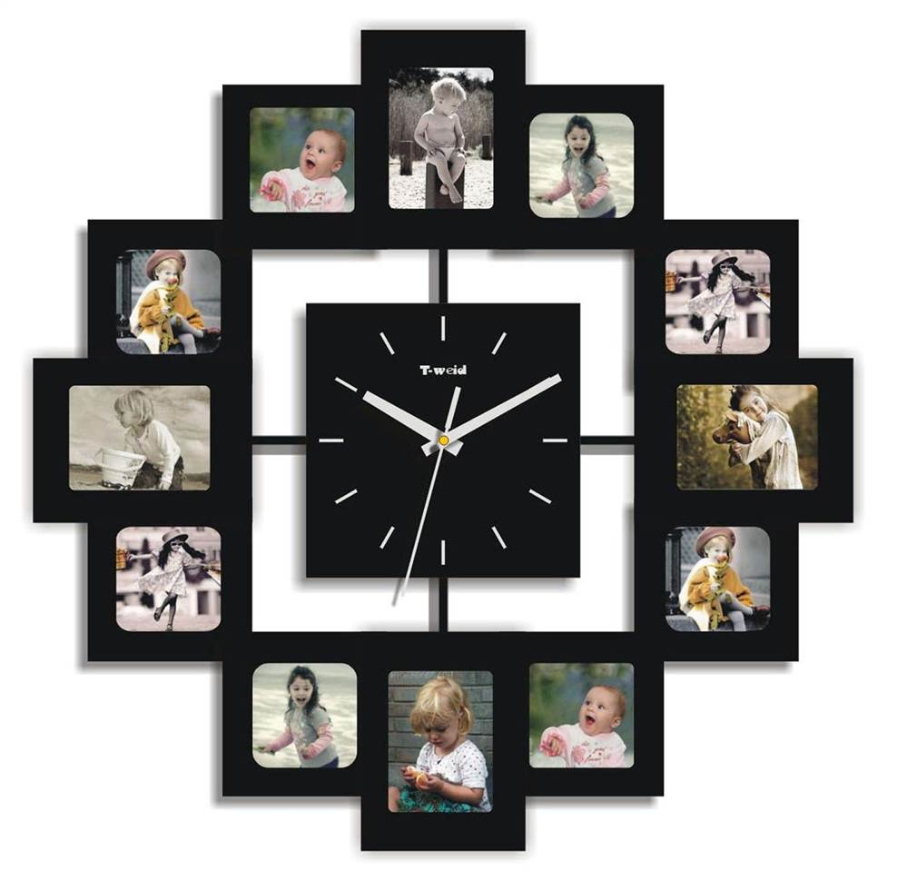 12 Photo Frames and Clock. Every Hour has each memorable photo. Everytime you tell time, you look at your loved ones. Product Size: 15.74x16x0.59