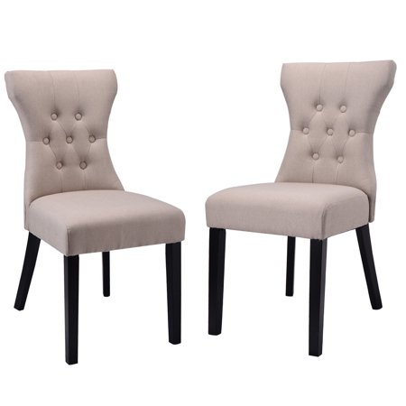 Costway 2PCS Dining Chair Modern Elegant Chair Home Kitchen Living Room Furniture Beige