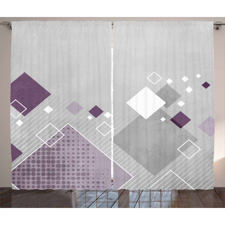 Abstract Curtains 2 Panels Set, Geometric Composition with Different Colored Squares Striped Dotted Rhombus, Window Drapes for Living Room Bedroom, 108W X 90L Inches, Grey Purple White, by Ambesonne ()