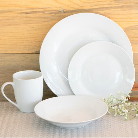 10 Strawberry Street Simply White Round 16-Piece Dinnerware Set (White 16 Piece Set)