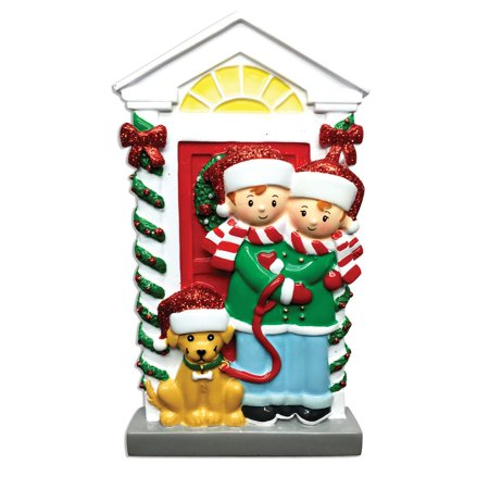 Couple with Dog Personalized Christmas Ornament (Personalized Christmas Ornaments Couple With 2 Dogs)