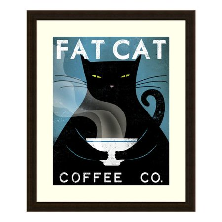 Amanti Art 'Cat Coffee (no city)' by Ryan Fowler Framed Vintage Advertisement