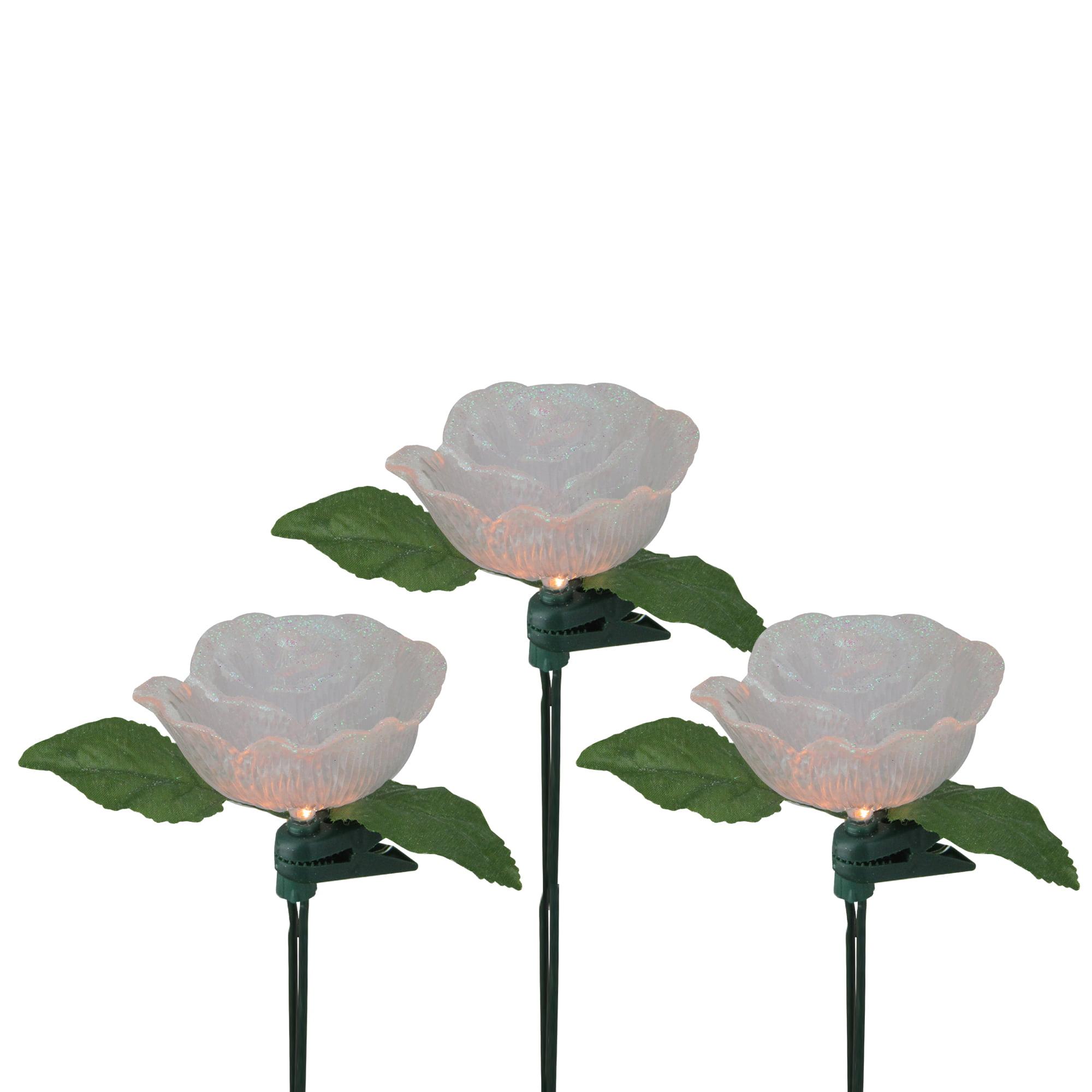 Kurt S. Adler 10ct Glittered Rose Flower String Lights Clear - 10' Green Wire