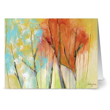24 Note Cards - Colorful Canopy - Blank Cards - Aqua Blue Ocean Envelopes Included