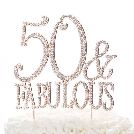 Ella Celebration 50 & Fabulous Cake Topper for 50th Birthday Party Rose Gold Decoration Supplies (50 & Fabulous Rose Gold) (Birthday Cake Supplies)
