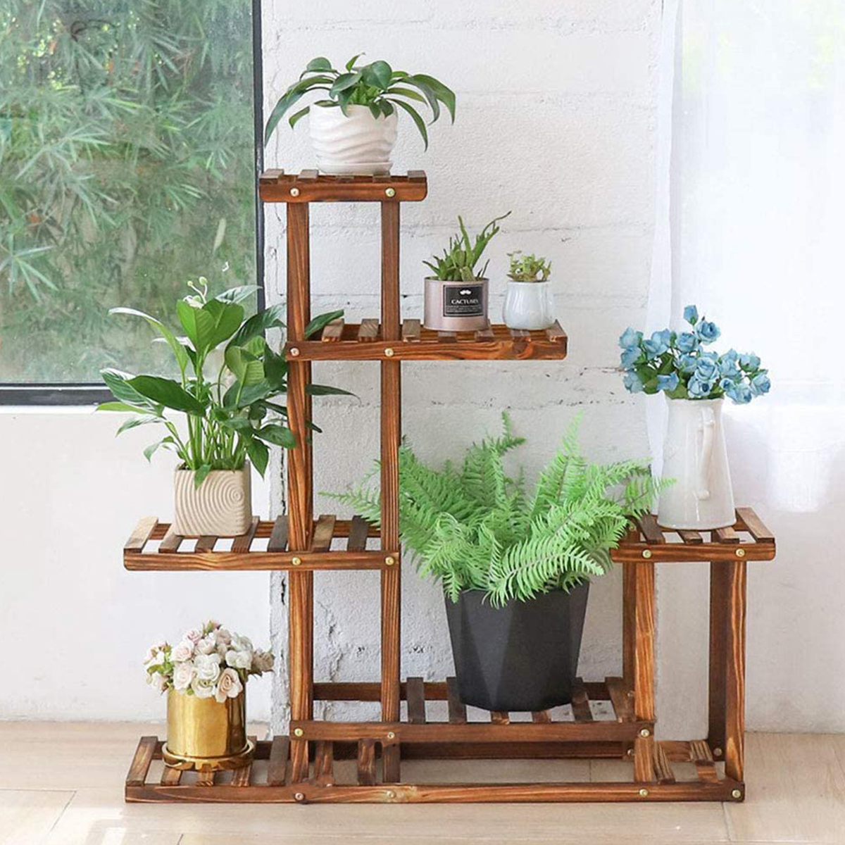 6 Tier 38 Inch Stable Wooden Frame Plant Stand Flower Pot Planters Display Shelving Rack Home Organizer Shelf For Indoor Outdoor Patio Yard Walmart Com Walmart Com