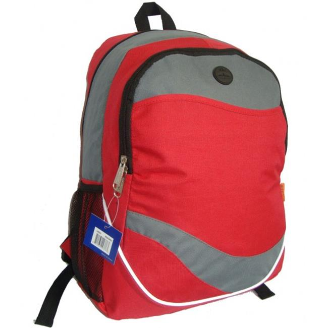 K-Cliffs 600D Poly Backpack, 17. 5 x 12 x 6 inch Red & Grey