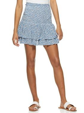 Scoop Womens Smocked Ruffle Skirt