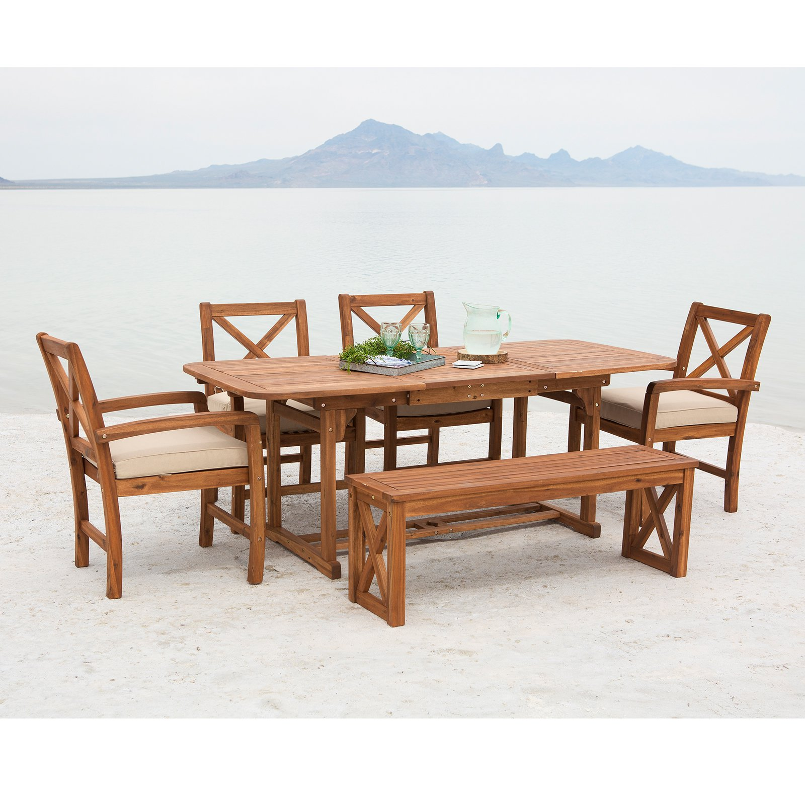 Walker Edison X-Back Acacia Wood 6 Piece Patio Dining Set with Cushions