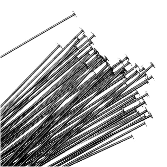 Gun Metal Head Pins 1.5 Inches 24 Gauge (50)