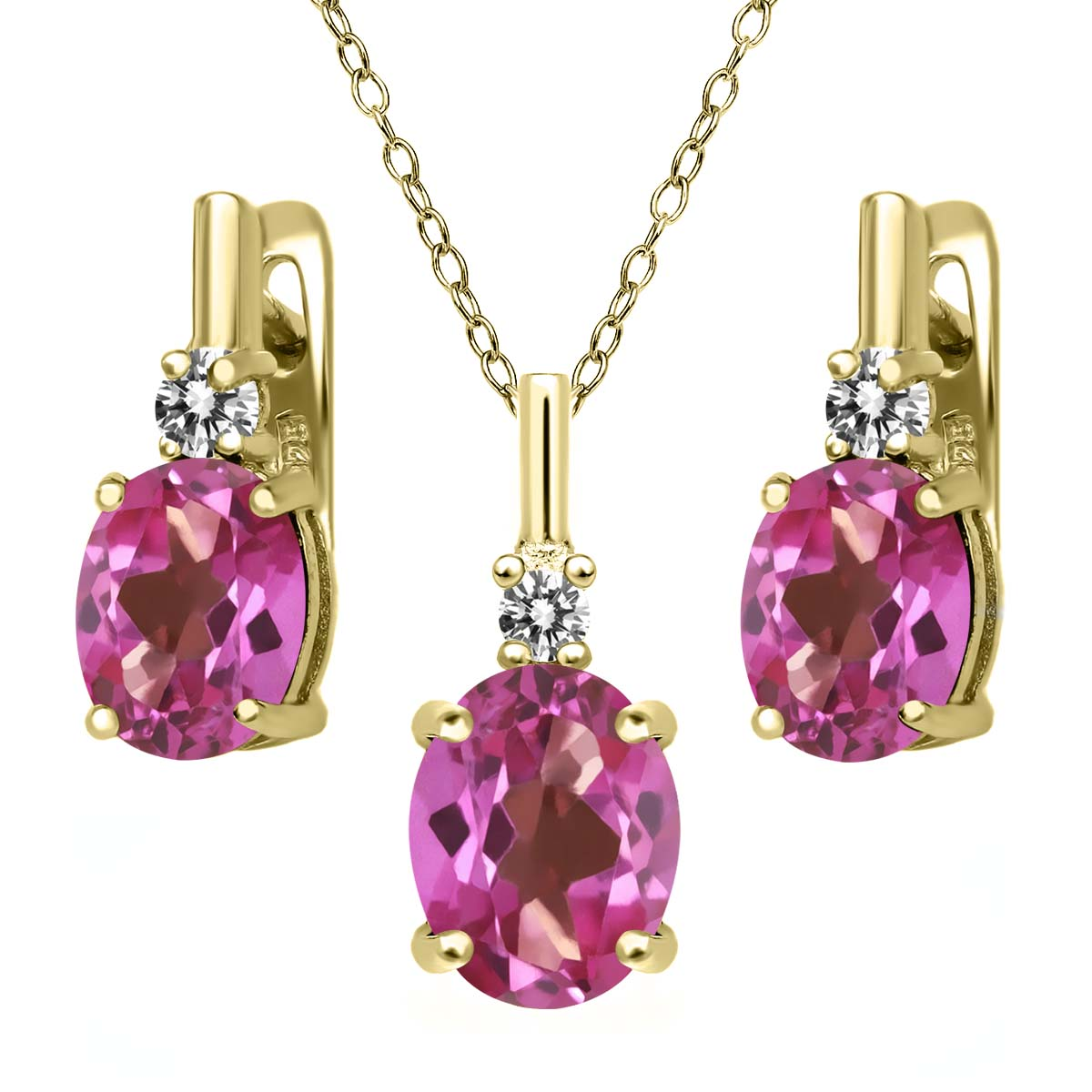 6.97 Ct Pink Mystic Topaz White Diamond 18K Yellow Gold Plated Silver Pendant Earrings Set by