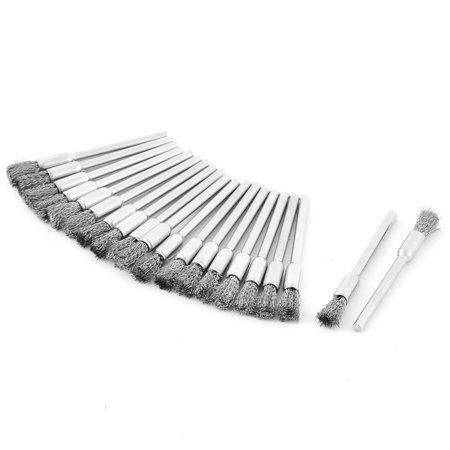 Pen Shape 5mm Stainless Steel Wire Brush 20pcs for Rotary (Stainless Steel Wire Brush)