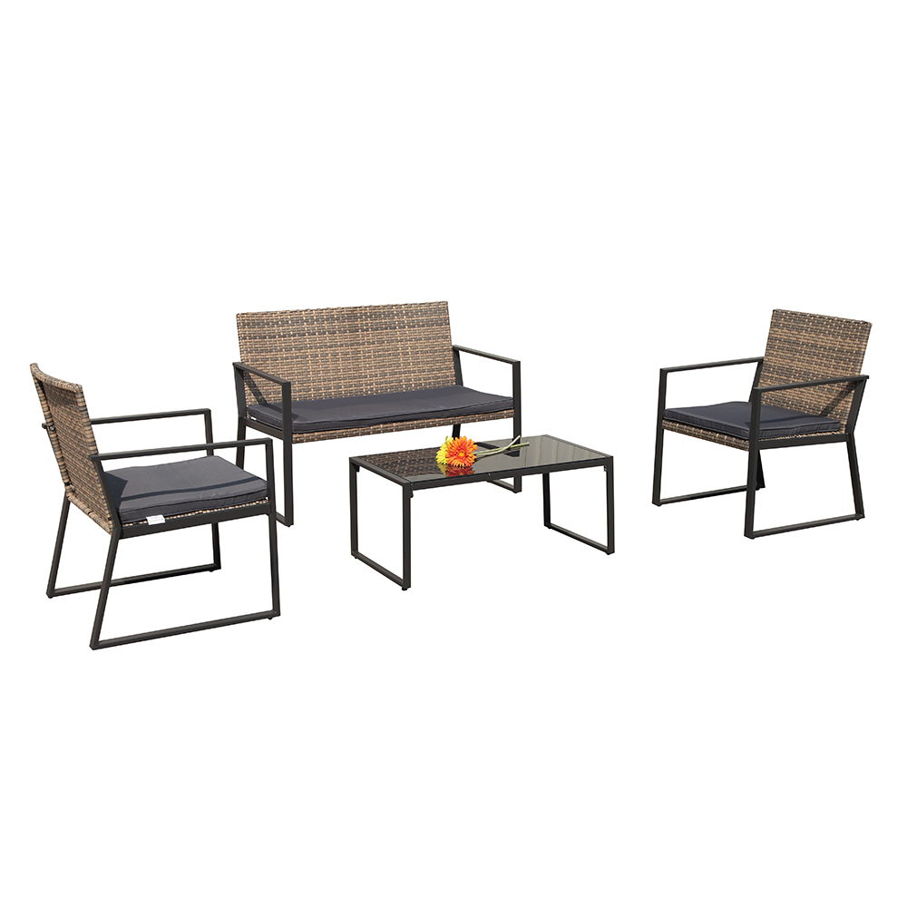 4 pcs rattan conversation set patio table and chairs with seat cushions outdoor pe wicker gradient brown walmart com
