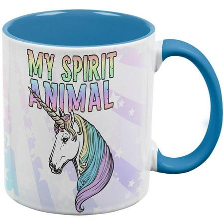 My Spirit Animal Unicorn Pastel Rainbow Aqua Handle Coffee -