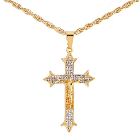 Jesus Cross Pendant Handset Crystal Stones Goldtone Christian Cross Rope Chain Necklace, J-400-A
