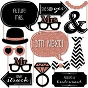Rose Gold Bridal Shower - Photo Booth Props Kit - 20 Count