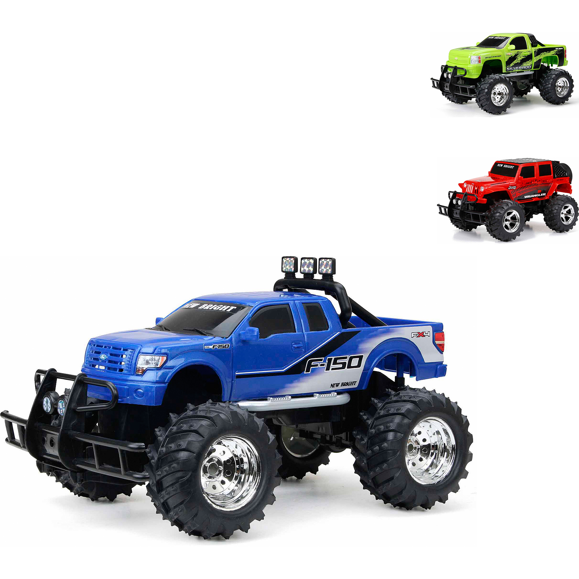 New Bright 1:14 Radio Control Full-Function 6.4V Ford F-150 & Deep, in colors Blue, Red, Green