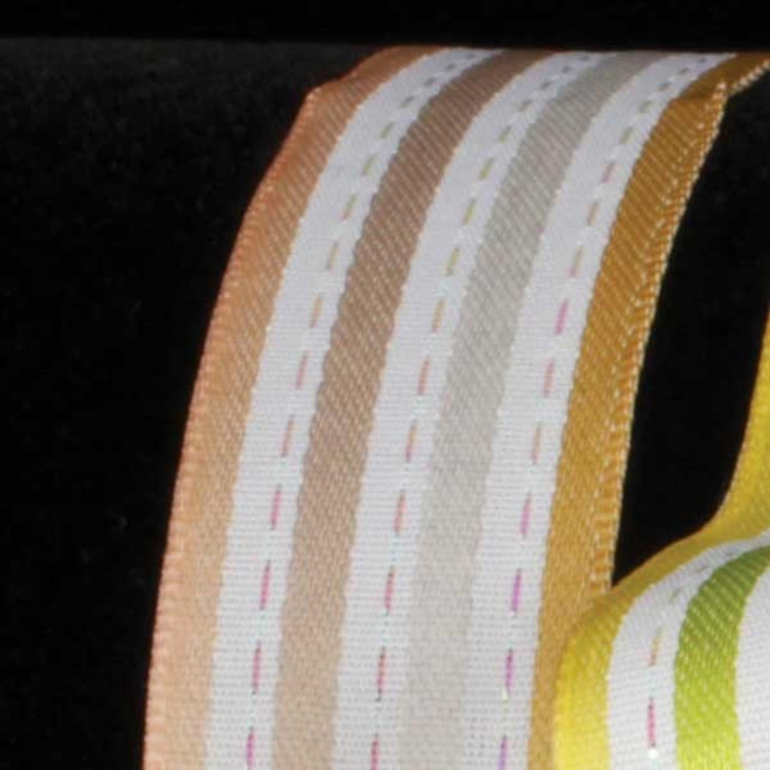 "Stripes and Dashes Tan and Cream Thin Striped Wired Craft Ribbon 7/8"" x 54 Yards"