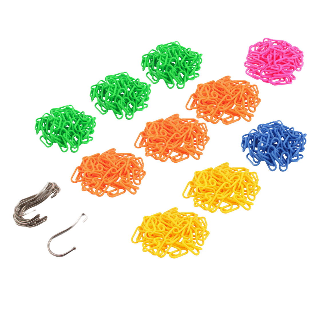 Home Clothes Display Hanging Chain Hook Hanger Assorted Color 4.9Ft long 10pcs