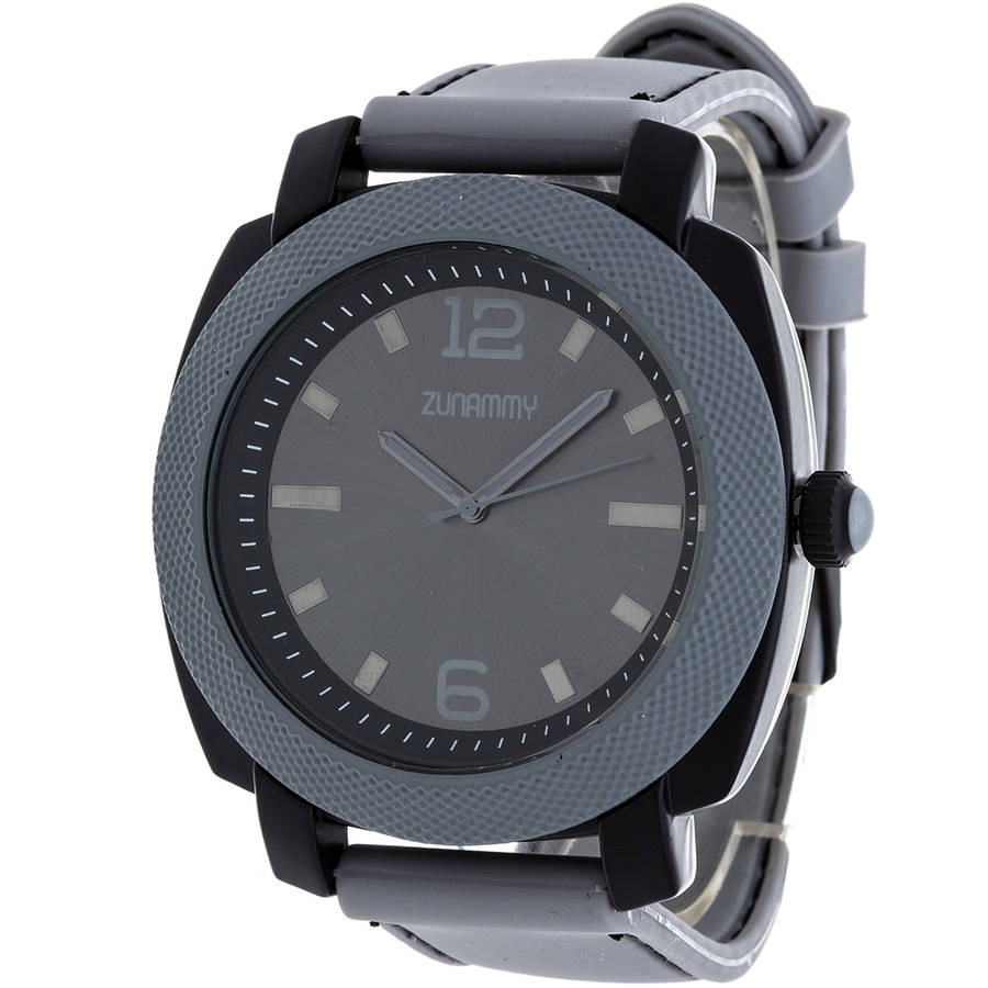 Zunammy Men's Sports Watch, Grey Rubber Strap
