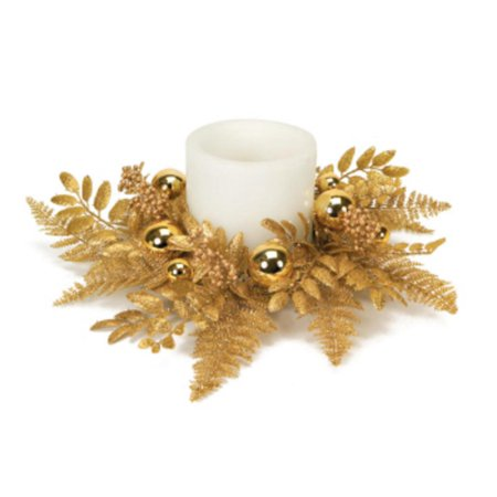 Pack of 3 Decorative Gold Glittered Cedar Candle Ring with Ornaments 18