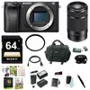 """Sony a6300 Mirrorless Digital Camera w/ E 55-210mm f/4.5-6.3 OSS E-Mount Lens & 64 GB SD Memory Card Bundle """"24.2MP APS-C Exmor CMOS SensorBIONZ X Image ProcessorXGA Tru-Finder 2.36m-Dot OLED EVF3.0"""""""" 921.6k-Dot Tilting LCD MonitorInternal UHD 4K30 & 1080p120 RecordingS-Log3 Gamma and Display Assist FunctionBuilt-In Wi-Fi with NFC4D FOCUS with 425 Phase-Detect PointsUp to 11 fps Shooting and ISO 51200Weather-Sealed Magnesium Alloy Body"""""""