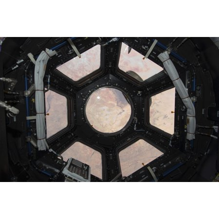 Coventry Cupola - The Sahara Desert visible through the windows of the cupola on the Tranquility module Canvas Art - Stocktrek Images (35 x 23)