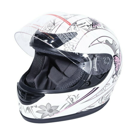 TCMT DOT Adult Full Face Motorcycle Helmet White Pink Butterfly with Flip Up Modular for Motocross Offroad Street Dirt Bike M