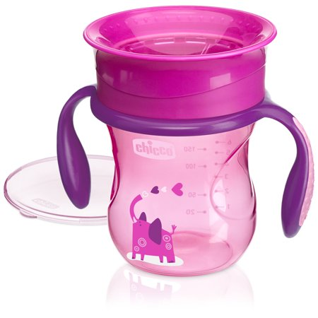 Chicco 360 Spoutless Trainer Sippy Cup 6M+, 7oz Pink 1-Pack