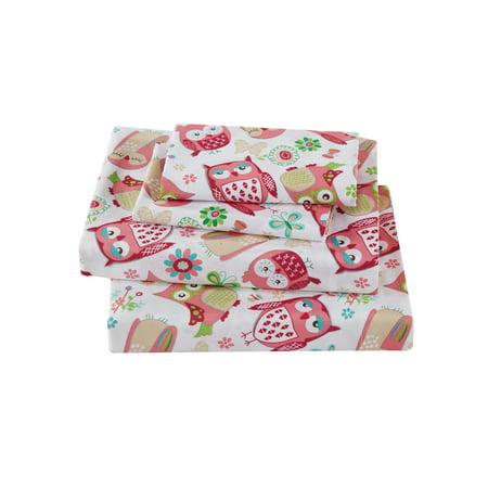 Fancy Linen 3pc Twin Size Sheet Set Teens Girls Owl Pink