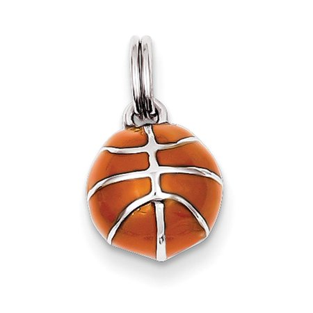 Male Basketball Player Charm (Sterling Silver 3D Enameled Basketball Charm )