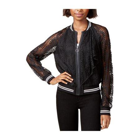 Rachel Roy Womens Lace Bomber Jacket black M - image 1 de 1