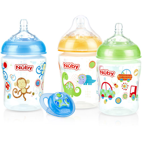 Nuby 3-Pack Natural Touch 9-oz Printed Baby Bottles with Comfort Orthodontic Pacifier, Boy, BPA-Free by Nuby