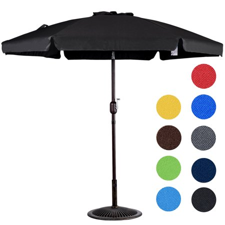 Sundale Outdoor 7.5 Feet Aluminum Beach Drape Umbrella with Crank and Push Button Tilt, 6 Fiberglass Ribs