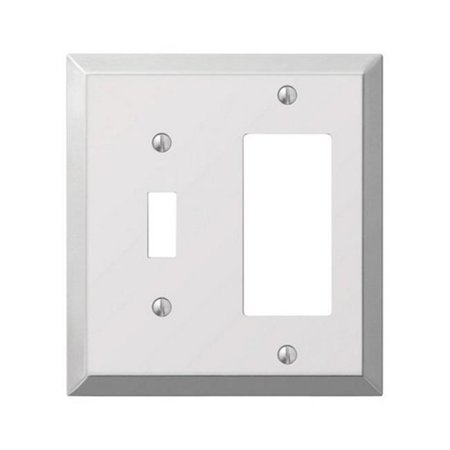 161TR 1 Toggle-1 Rocker Combo Polished Chrome Stamped Steel Wall Plate